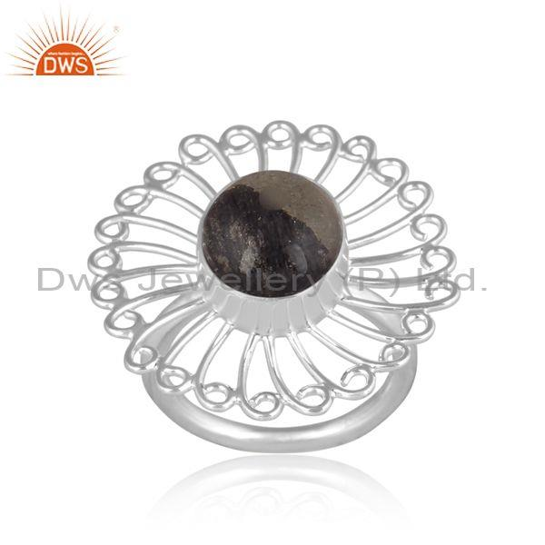Fine 925 silver doublet apache gold crystal set floral ring