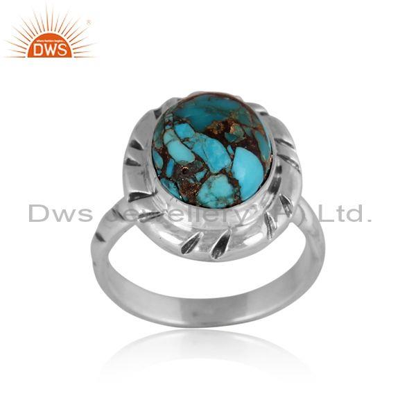 Oxidized sterling silver mojave copper turquoise fancy ring