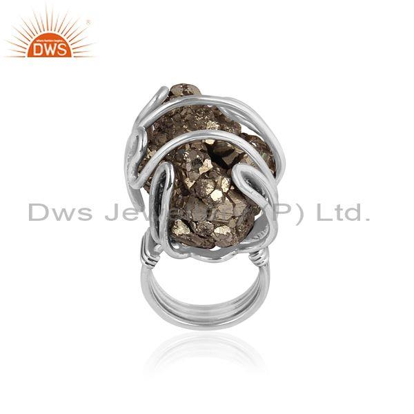 Rough Cut Pyrite Set Oxidized Silver Abstract Designer Ring