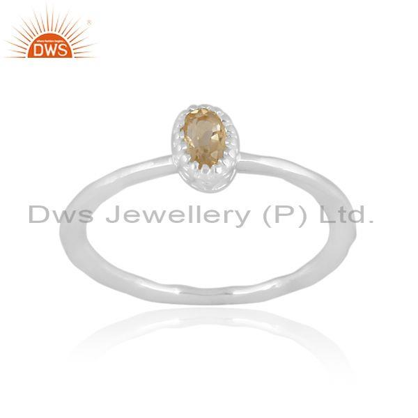 Oval cut citrine set fine 925 sterling silver crown ring