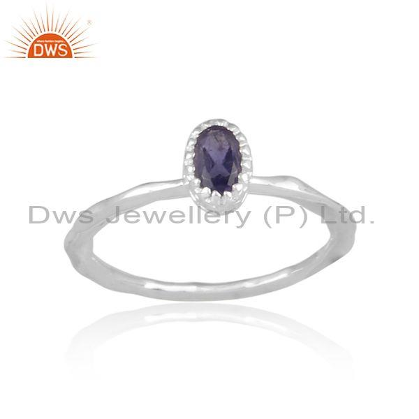 Oval cut iolite set fine sterling silver crown style ring
