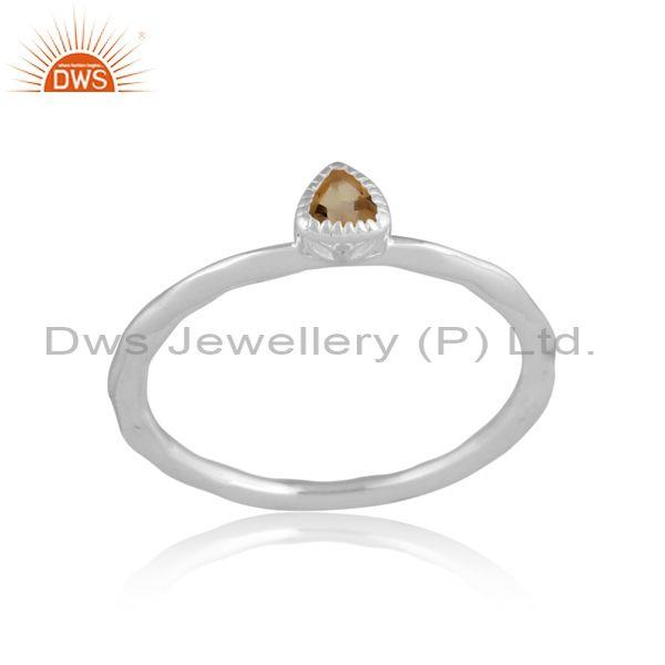 Triangle cut citrine set fine 925 silver handhammered ring