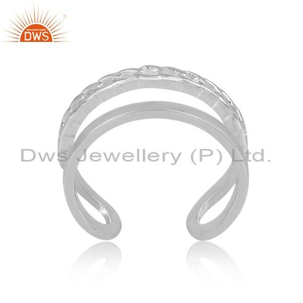 Handmade Fine 925 Sterling Silver Double Band Statement Ring