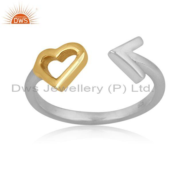 Gold On Fine 925 Silver Heart And Arrow Design Open Ring