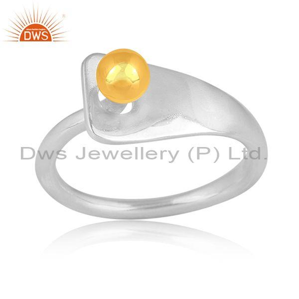 Handmade Gold On Fine 925 Silver Classic Design Band Ring