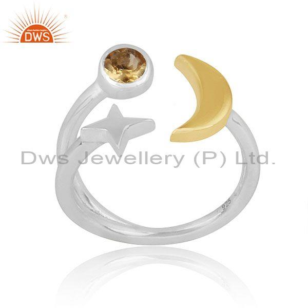 Citrine Set Gold On Fine Silver Star Moon Charm Classy Ring