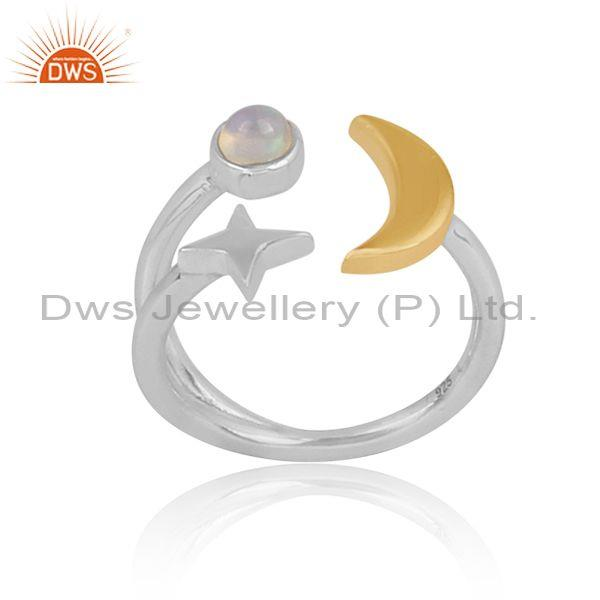 Ethiopian opal set star and moon gold on fine silver ring