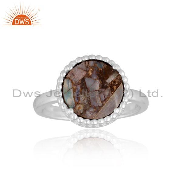 Mojave copper ethiopian opal coin set fine silver round ring