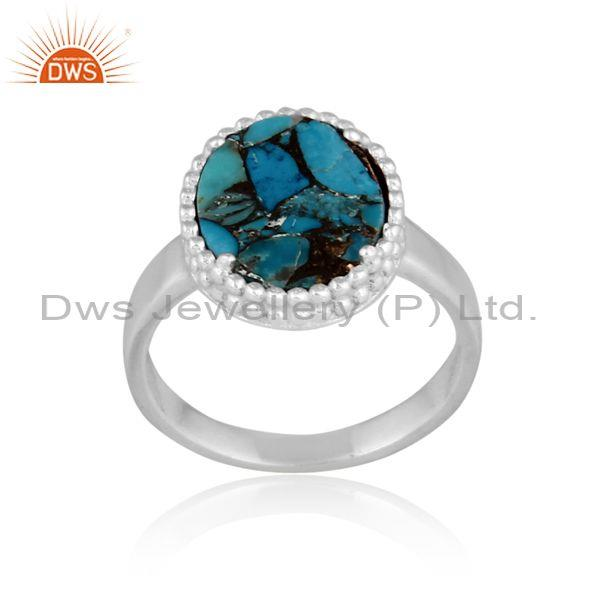 Mojave Copper Turquoise Coin Set Round Fine 925 Silver Ring