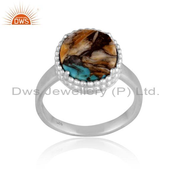 Mojave copper oyster turquoise coin round fine silver ring