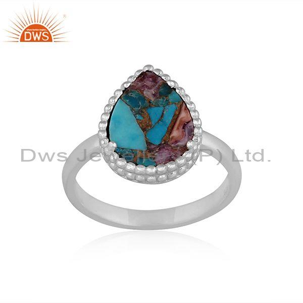 Mojave copper purple oyster turquoise 925 sterling silver ring