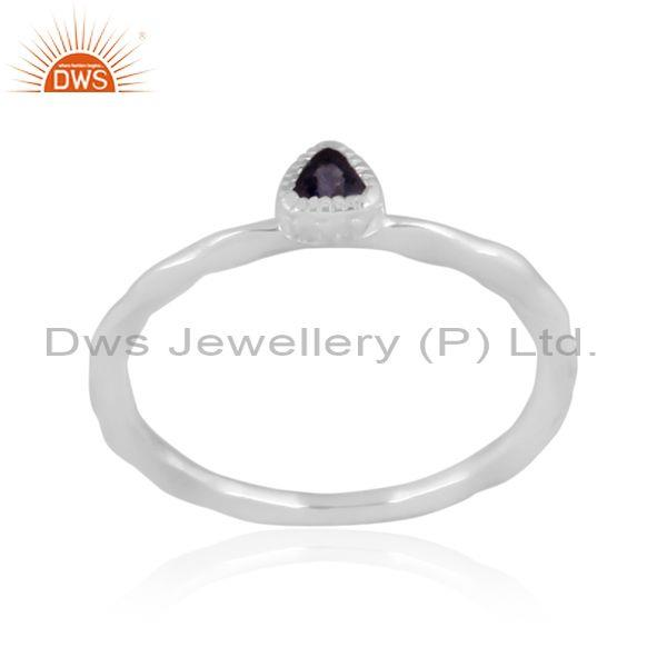 Fine 925 silver triangle cut iolite set handhammered ring