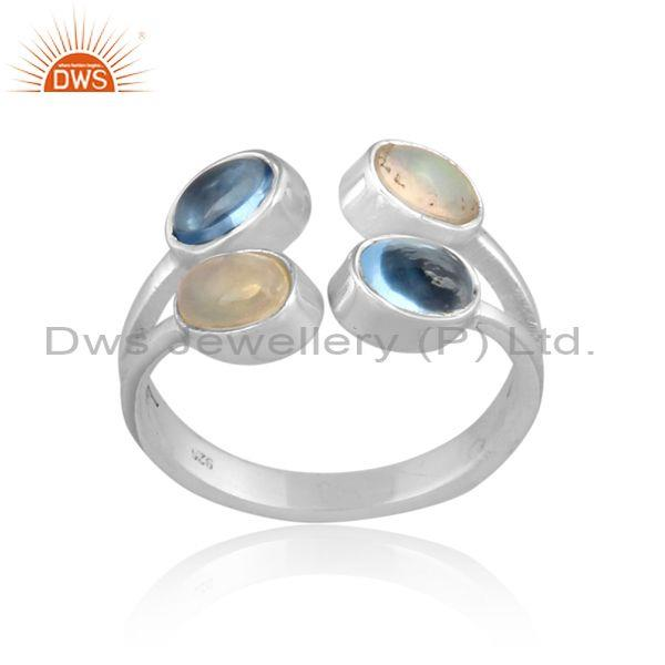 Blue Topaz And Ethiopian Opal Set Fine Sterling Silver Ring