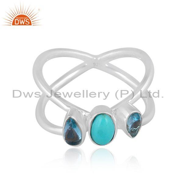 Arizona Turquoise And Blue Topaz Set Fine Silver Star Ring