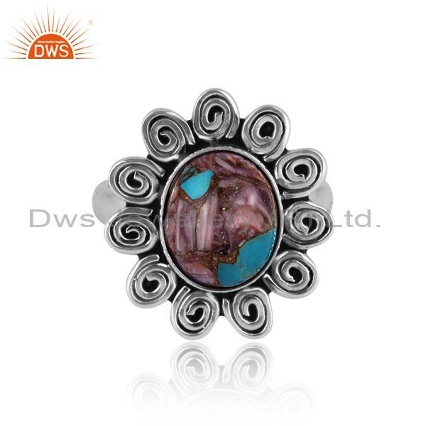 Mojave Copper Purple Oyster Turquoise Oxide Silver Boho Ring