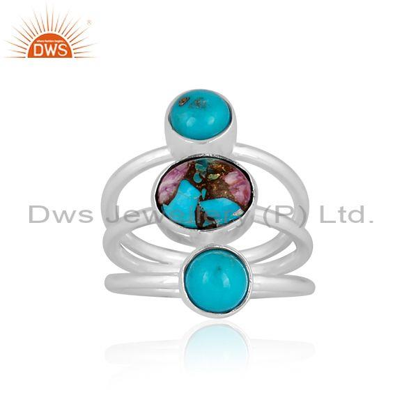 Mojave Copper Purple Oyster Turquoise Fine Silver Stone Ring