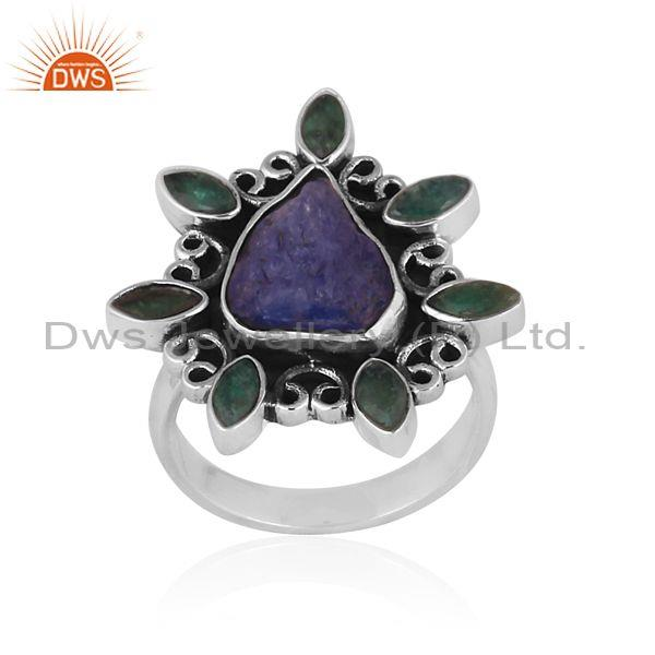 Emerald And Tanzanite Set Oxide Silver Abstract Fancy Ring