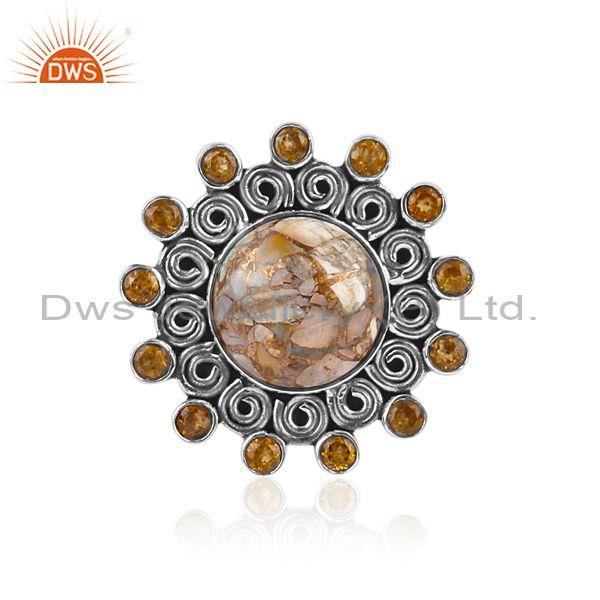 Mojave Copper Ethiopian Opal And Citrine Oxide Silver Ring