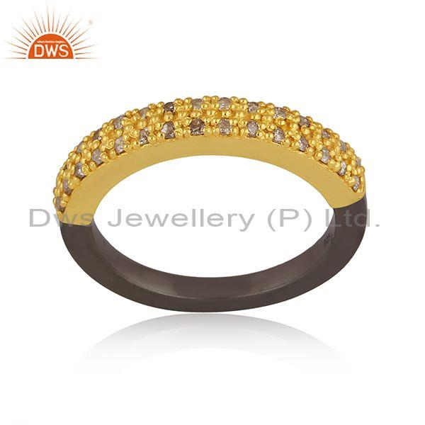 Diamond set gold and black on silver classic band style ring