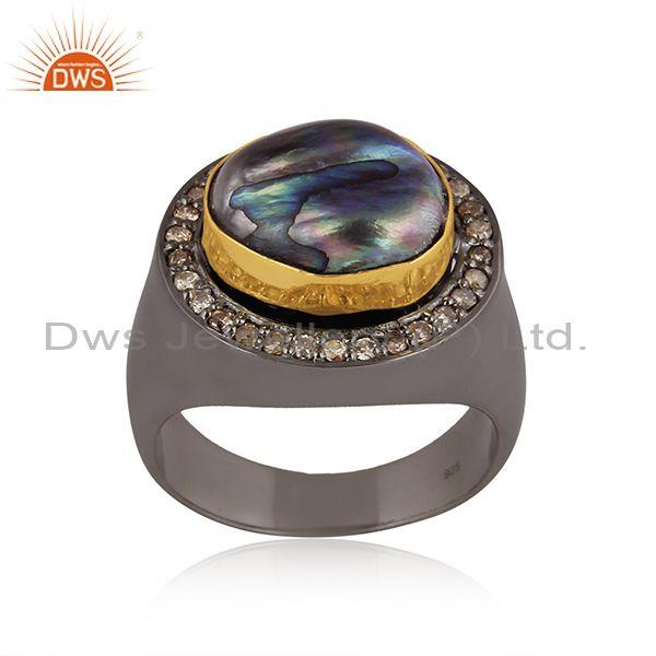 Diamond and gray pearl beads set gold, black on silver ring