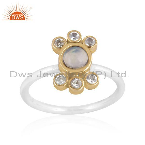 Blue Topaz And Ethiopian Opal Set Gold On Fine Silver Ring