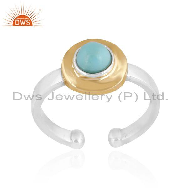 Arizona Turquoise Gold On Fine Sterling Silver Designer Ring