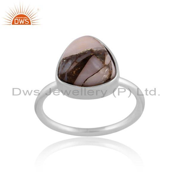 Triangle mojave copper pink opal turquoise fine silver ring