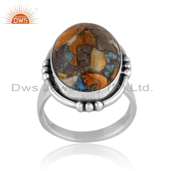 Mojave copper bumblebee turquoise oxidized silver ring