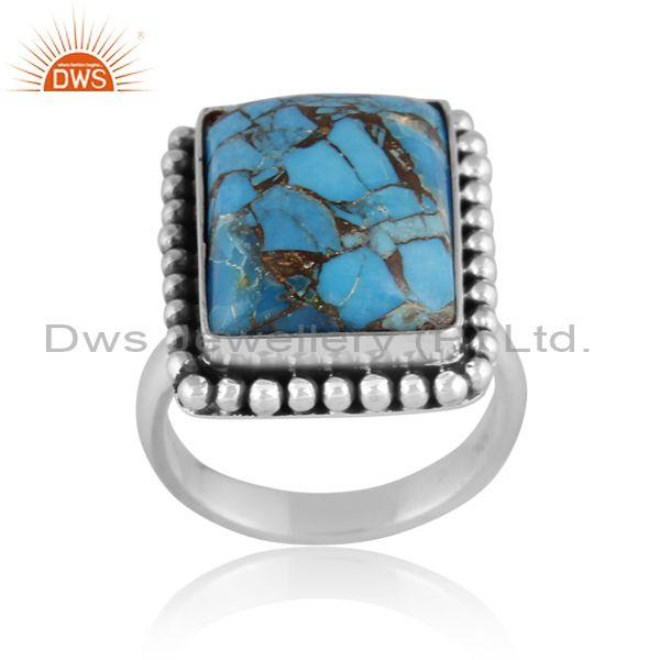 Mojave copper turquoise set oxidized sterling silver ring