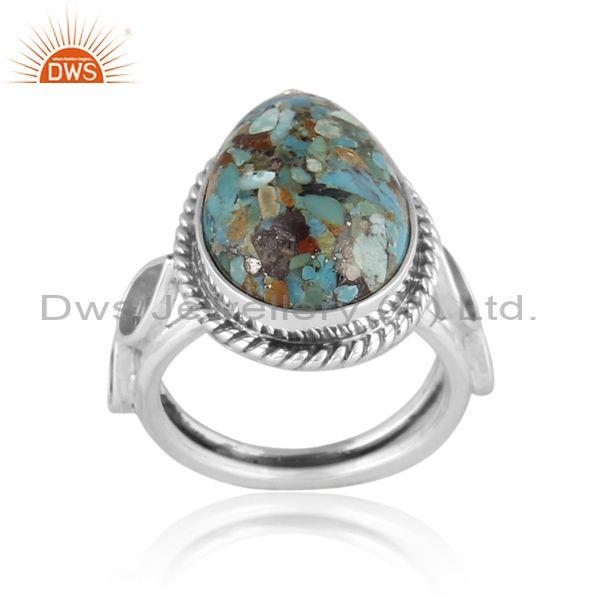 Oval Boulder Turquoise Set Oxidized 925 Sterling Silver Ring
