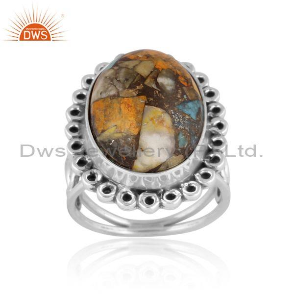 Oxidized silver mojave copper bumblebee turquoise set ring