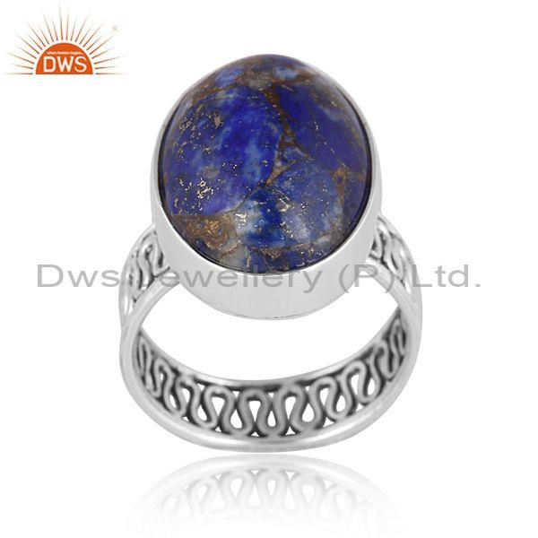 Mojave copper lapis set oxidized 925 sterling silver ring