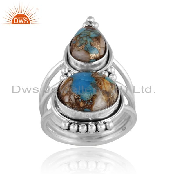 Mojave copper oyster turquoise set classic oxide silver ring