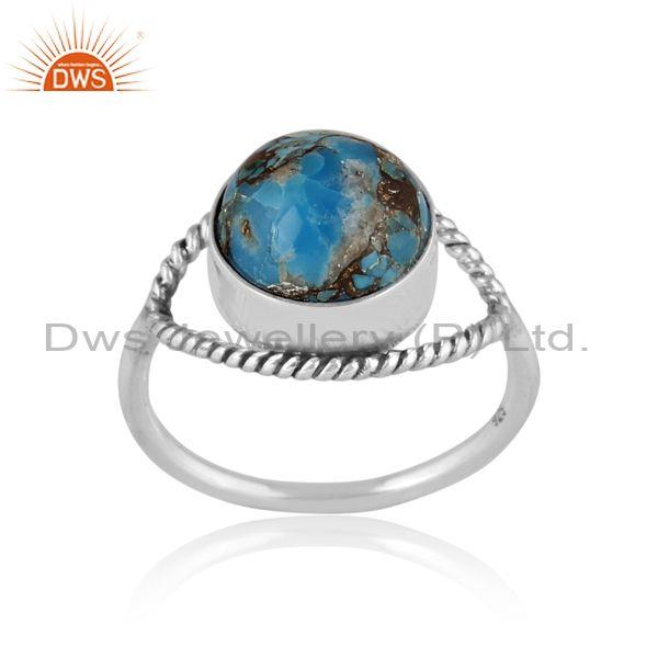 Round mojave copper turquoise set classic oxide silver ring