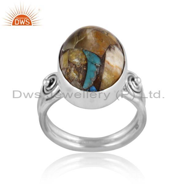 Oxide silver mojave copper bumblebee turquoise classic ring