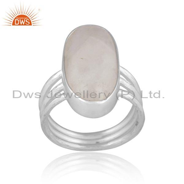 Oval rainbow moon stone set fine sterling silver classy ring