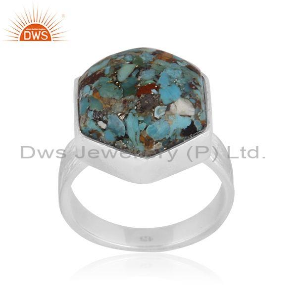 Boulder turquoise set fine 925 sterling silver band style ring