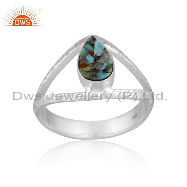 Pear cut boulder turquoise coin set fine 925 silver ring