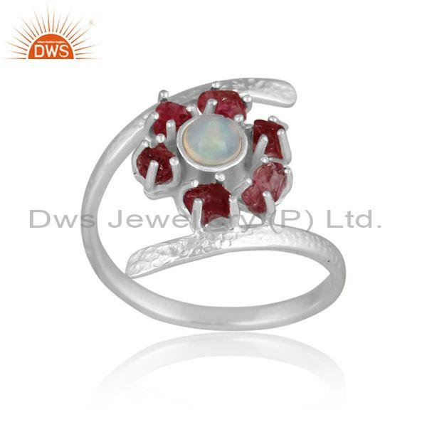 Ethiopian Opal And Spinel Ruby Set Fine Sterling Silver Ring