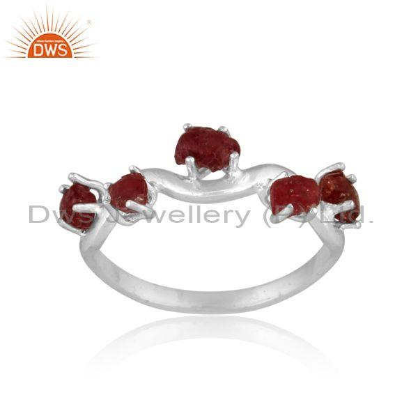 Rough Cut Spinel Ruby Set Fine Sterling Silver Abstract Ring
