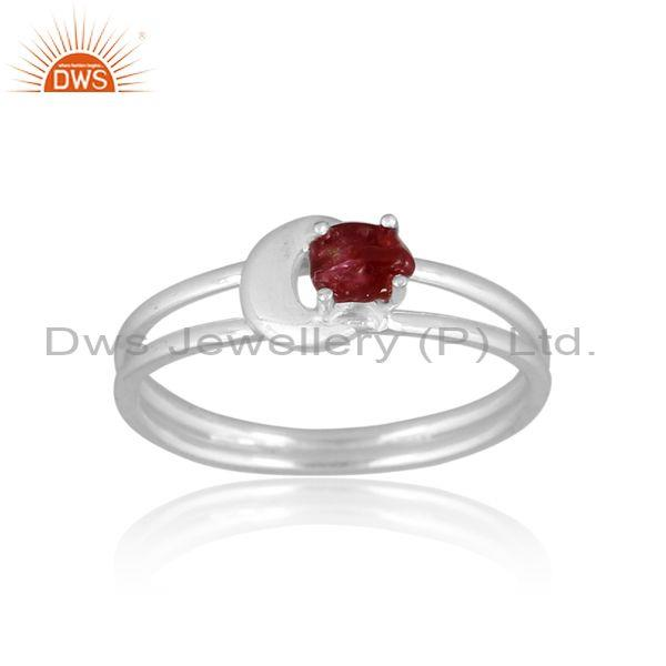 Rough Cut Spinel Ruby Set Fine 925 Silver Statement Ring