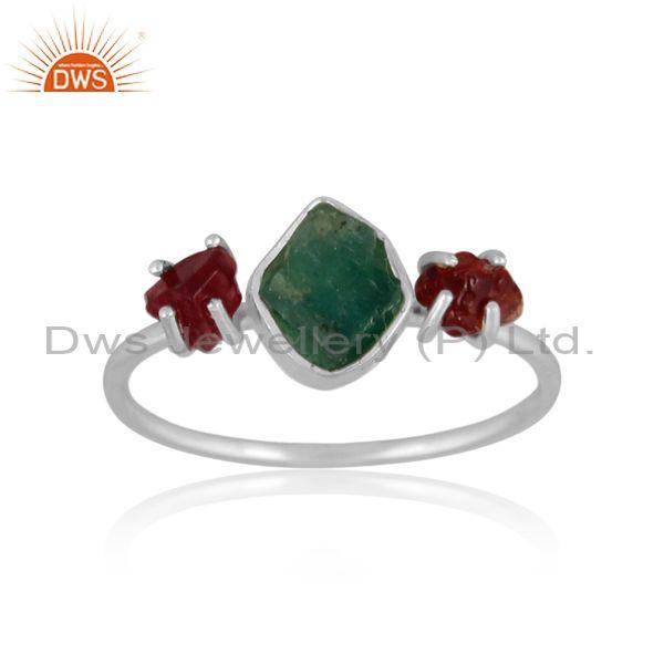 Rough Cut Emerald And Spinel Ruby Fine Silver Statement Ring