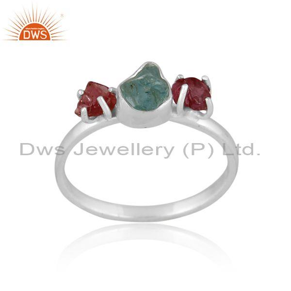 Rough cut apatite and spinel ruby fine silver abstract ring
