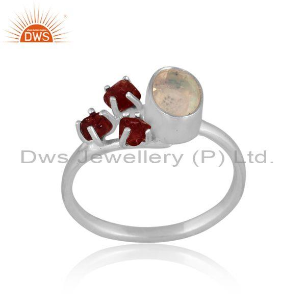 Ethiopian Opal And Spinel Ruby Set Fine Silver Fancy Ring