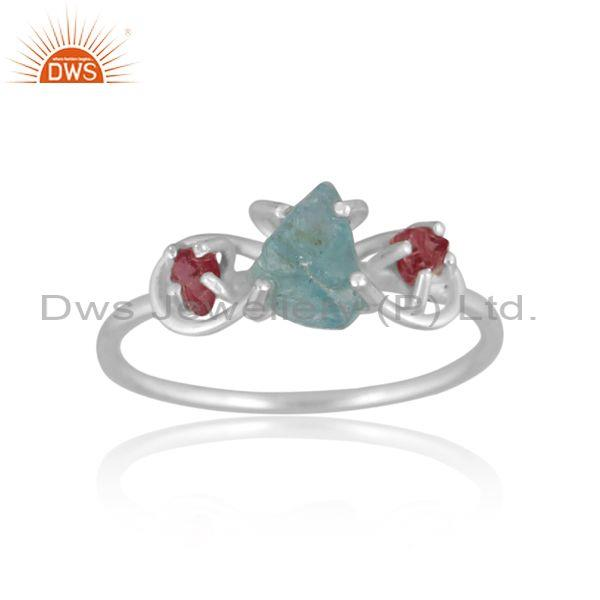 Rough cut apatite and spinel ruby set fine silver fancy ring