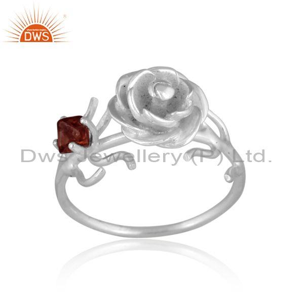 Rough Cut Spinel Ruby Set Fine 925 Silver Rose Charm Ring