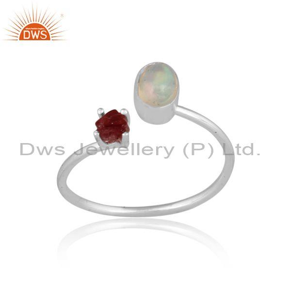 Ethiopian opal and spinel ruby set fine 925 silver open ring