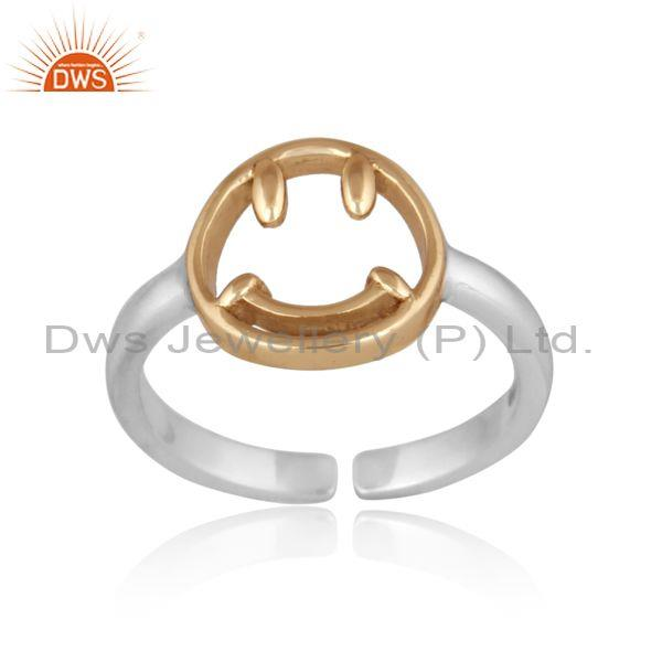 Handmade and handhammered gold on 925 silver statement ring