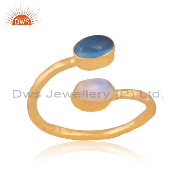 Blue chalcedony and rainbow moon stone gold on silver ring