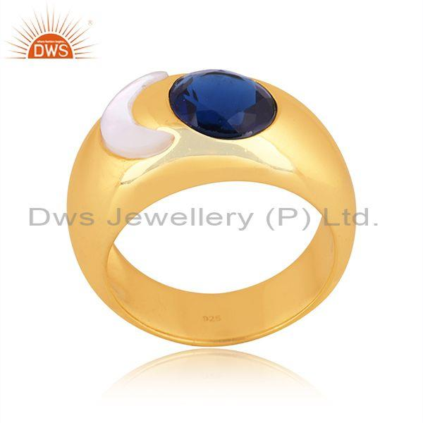 Mother of pearl coin and corundum blue gold on silver ring